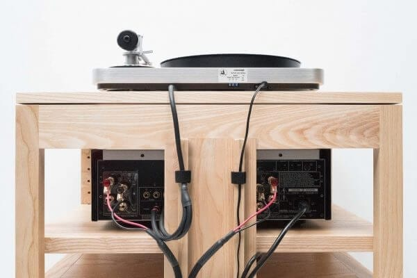 Dovetail Audio Rack and collection of hi-fi audio equipment and Modern Record Player. Features sound engineered cable management accessibility.
