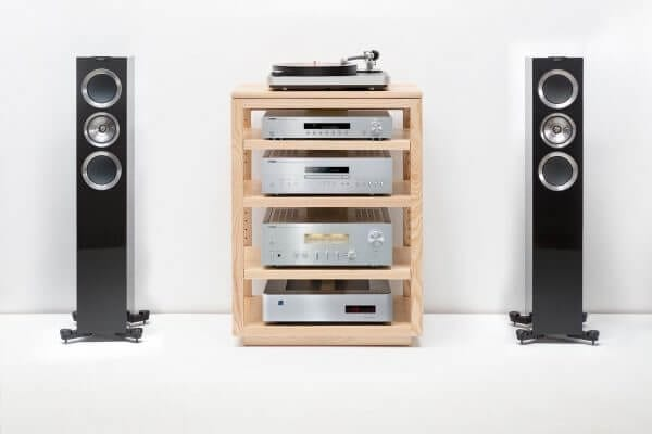 Dovetail Audio Rack with KEF Speakers and collection of hi-fi audio equipment and Modern Record Player.